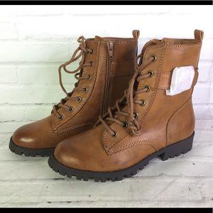 SO Broccoli Combat Boots Cognac Tan Womens Sz 6.5